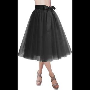 Black Tulle Knee length skirt  Tutu ballet style W